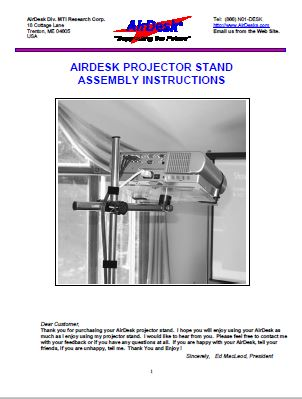 PROJECTOR-AIRDESK-MANUAL